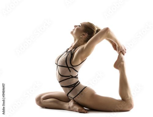 Fototapeta Yoga Backbend Gymnastics, Woman Flexible Body Fitness Exercise, Young Gymnast Isolated on White Background