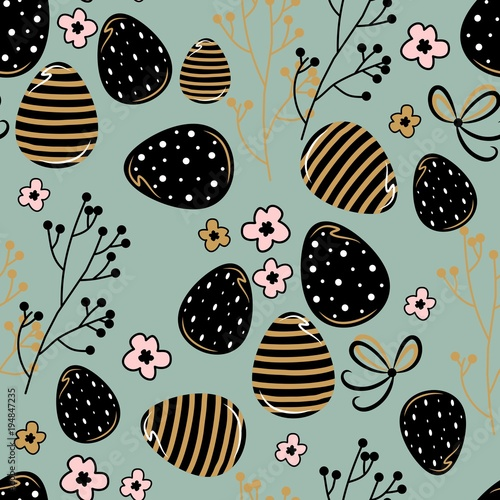 Materiał do szycia Seamless pattern with easter eggs. Vector illustration. For textiles, cards, wallpaper.