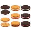 Sandwich cookies with cream 3d realistic vector set