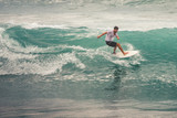 Surfer on Blue Ocean Wave, Bali, Indonesia. Riding in tube. - 194855406