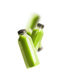 Flying green smoothie or juice bottles , isolated on white background. Branding copy space - 194859046
