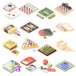 Board Games Isometric Icons Set
