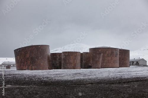 Foto op Aluminium Antarctica Disused oil tanks at Antarctic whaling station