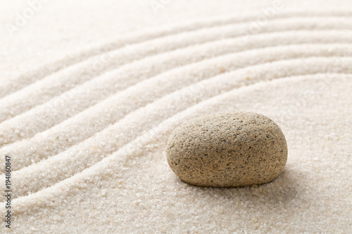Fotobehang Zen Stenen Zen sand and stone garden with raked curved lines. Simplicity, concentration or calmness abstract concept