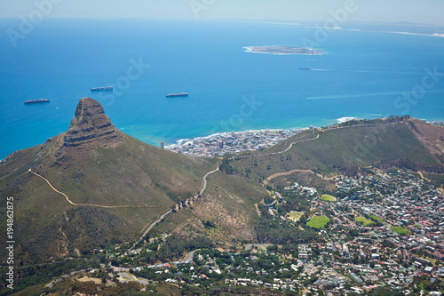 Aluminium Blauw View over Cape Town from Table Mountain