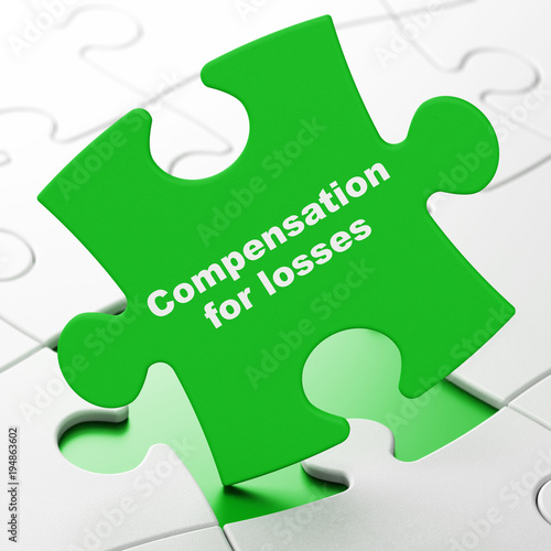 Currency concept: Compensation For losses on Green puzzle pieces background, 3D rendering