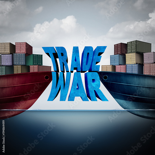 Staande foto Wanddecoratie met eigen foto Trade War Concept