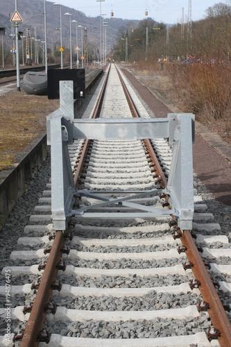 Fotobehang Spoorlijn Abstellgleis, Prellbock