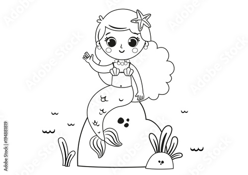 Cartoon Mermaid For Coloring Page Activity. (Vector illustration)