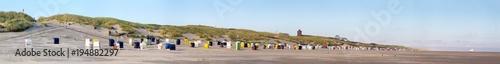 Poster Noordzee Blick auf den Strand der Nordseeinsel Juist in Nordfriesland, Deutschland, Europa, am frühen Morgen.