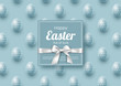 Easter holiday greeting card with realistic eggs. Blue background. Vector illustration.
