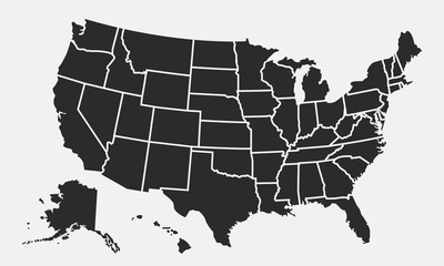 USA map with states isolated on a white background. United States of America map. Vector illustration