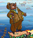 Illustration. The mole looks at the sky. Character. Cartoon