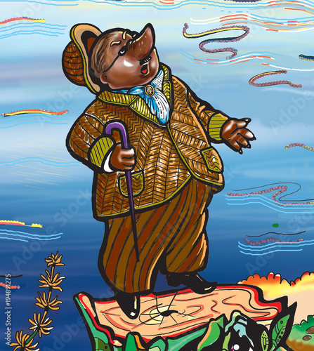 Illustration. The mole looks at the sky. Character. Cartoon