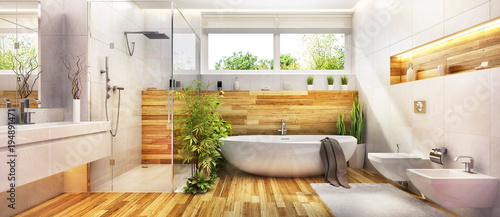 Modern design bathroom - 194891471