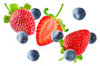 Fresh flying strawberries and blueberries - 194893440