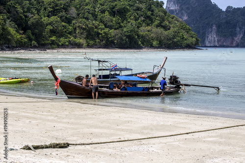 Fotobehang Thailand Long tail boats on Phi Phi Islands, Thailand.An exotic place.