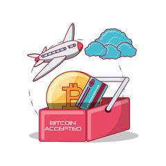 bitcoin accepted design with shopping basket with bitcoin coin and credit card over white background, colorful design vector illustration
