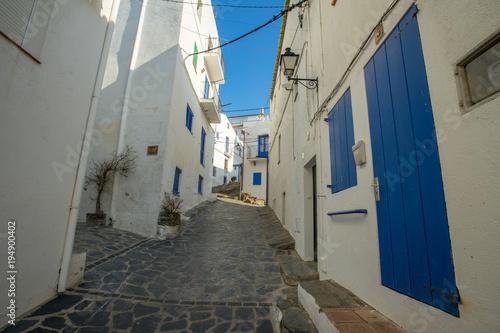 Wall Murals Narrow alley Dans les rues de Cadaquès, des maisons blanches aux fenêtres bleues