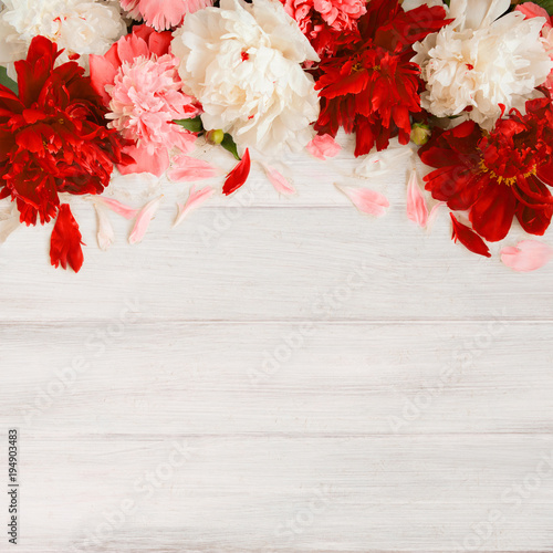 Background with Frame of peony Flowers - 194903483
