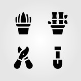 House Plants vector icon set. bamboo, shovel, sensevieria and pruning shears