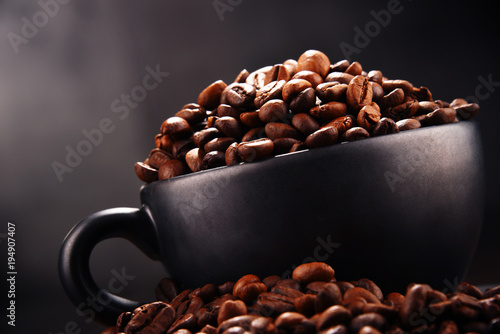 Foto op Aluminium Koffiebonen Composition with two cups of coffee and beans