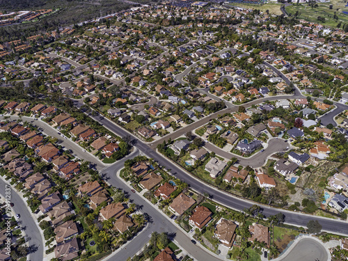 Suburbia - This is an aerial view of homes on North  County San Diego (La Costa), California, USA