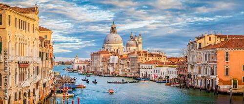 Deurstickers Panoramafoto s Canal Grande with Basilica di Santa Maria della Salute at sunset, Venice, Italy