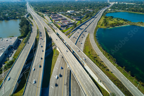 Aerial drone photo highway interchange Miami Florida Palmetto expressway