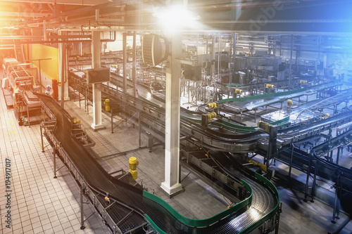 Modern Beer Factory, Brewery Concept. Steel Empty Conveyor And Pipes For  Beer Production.