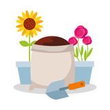potted flower roses and sunflower sack soil and shovel gardening vector