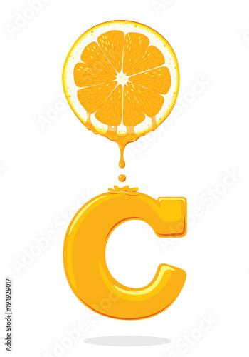ilustracja świeża pomarańcza, witamina C, wektor