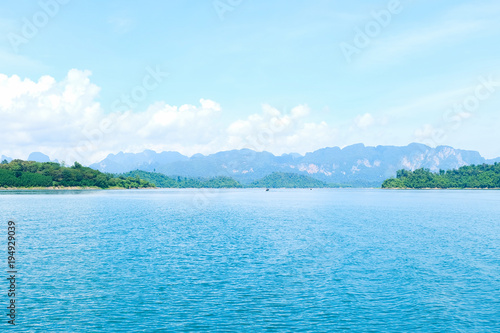 Deurstickers Lichtblauw Panoramic views of limestone mountains with crystal green water, southern Thailand.