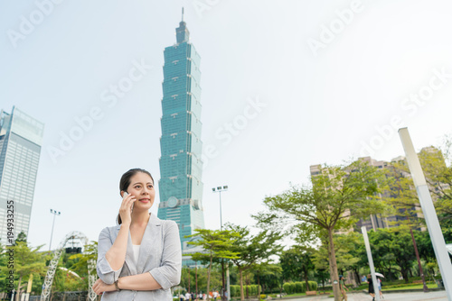 woman enjoys the business travel in Taiwan Poster