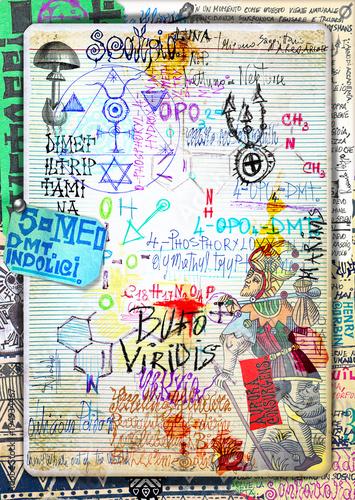 Fotobehang Imagination Disegni e manoscritti alchemici e esoterici con collage,formule e tarocchi