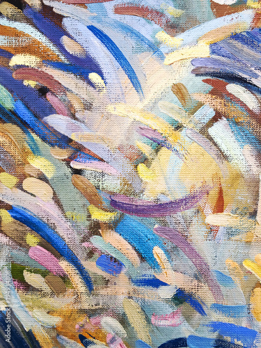 vibrant canvas background with multicolor brush strokes. art oil painting.