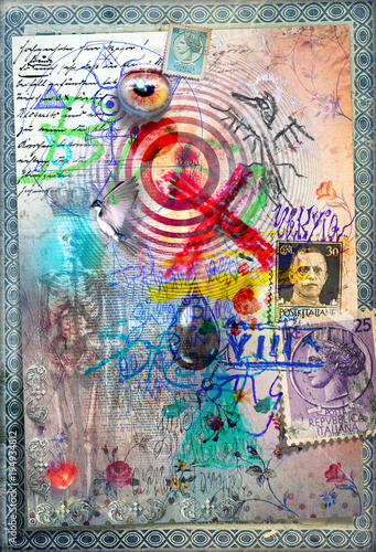 Staande foto Imagination Disegni e manoscritti alchemici e esoterici con collage,formule e tarocchi