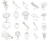 Illustration of veggie doodles icon - 194935032