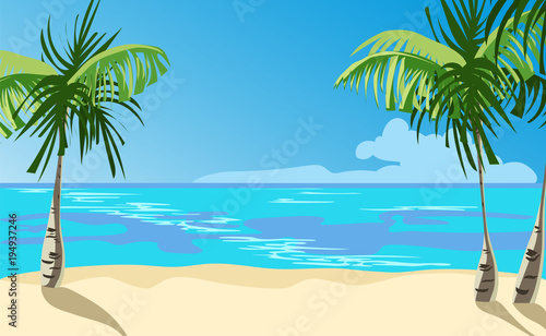 Fotobehang Turkoois ocean coast. vector illustration