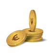 Financial growth concept with golden coin Euro. Stack of Euro Golden Coin.