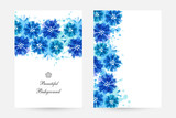 Romantic background with blue cornflowers and paint splashes.