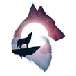 Wolf illustration. Cartoon paper landscape. Vector eps 10