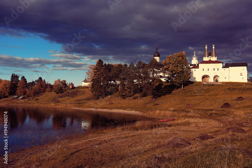 Aluminium Aubergine Church on the river autumn landscape in Russia