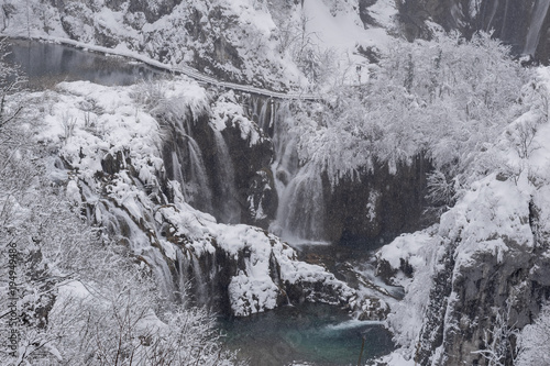 Aerial view of Plitvice Lakes National Park at winter