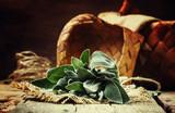 Fresh Sage, rustic style, vintage wood background, selective focus - 194949693