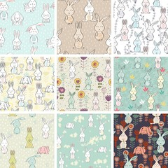Vector seamless patterns with bunnies and flowers