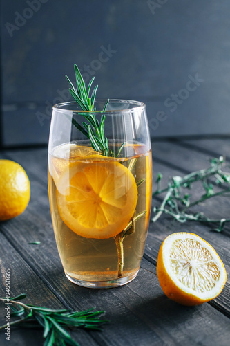 Foto op Canvas Sap Fresh refreshing lemonade with a sprig of rosemary