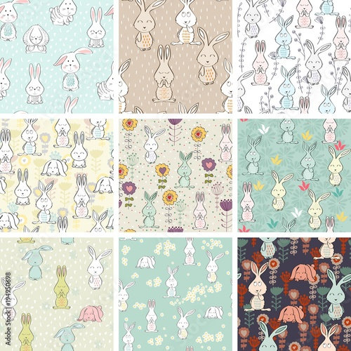 Fototapeta Vector seamless patterns with bunnies and flowers