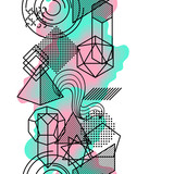 Seamless pattern with abstract geometric shapes. Line art background - 194951849