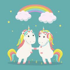 Cute magical unicorns in love under the rainbow. Vector illustration.